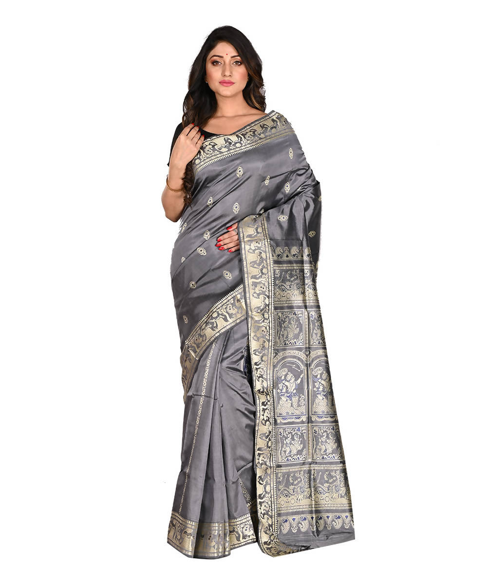 Bengal Handloom Grey Silk Baluchari Saree