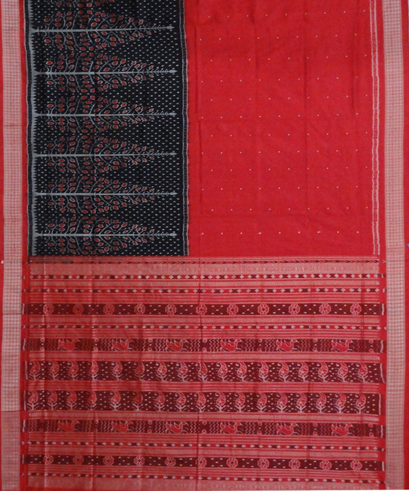 Red, black sambalpuri ikat handloom silk saree