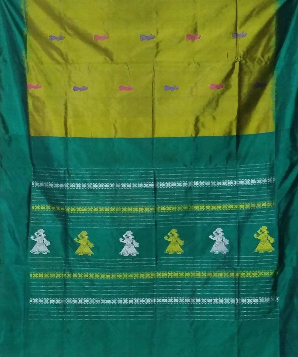 parrot green teal handwoven gollabama silk saree