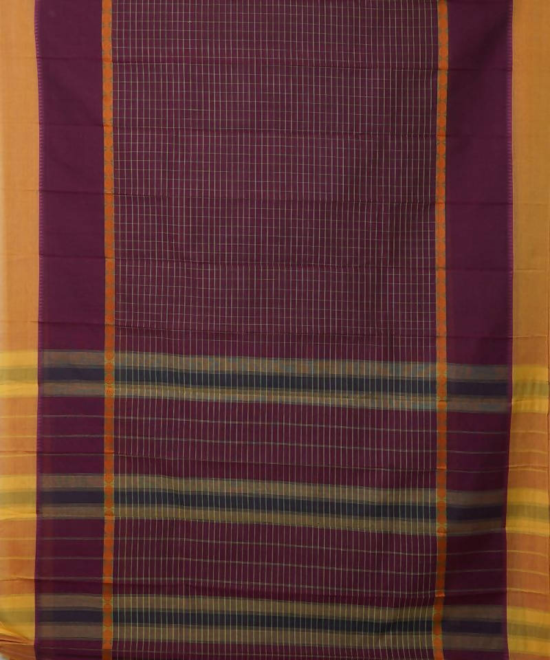 Handloom Wine Purple Narayanpet Cotton Saree