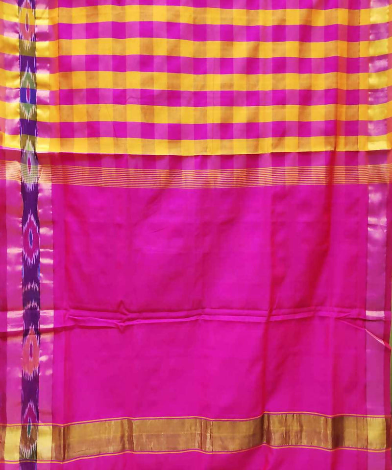Pink and yellow Handwoven Venkatagiri Cotton silk saree
