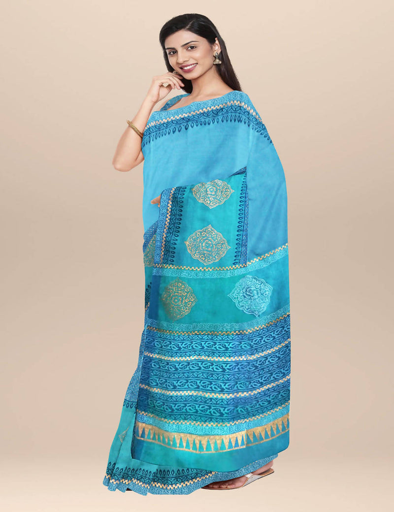 Turquoise handwoven hand block printed cotton saree