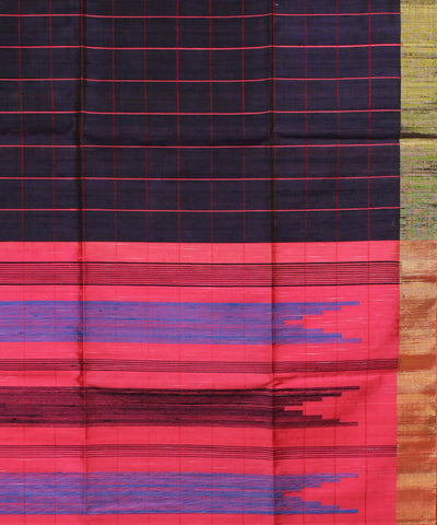 Violet Checks Khadi Handloom Silk Saree
