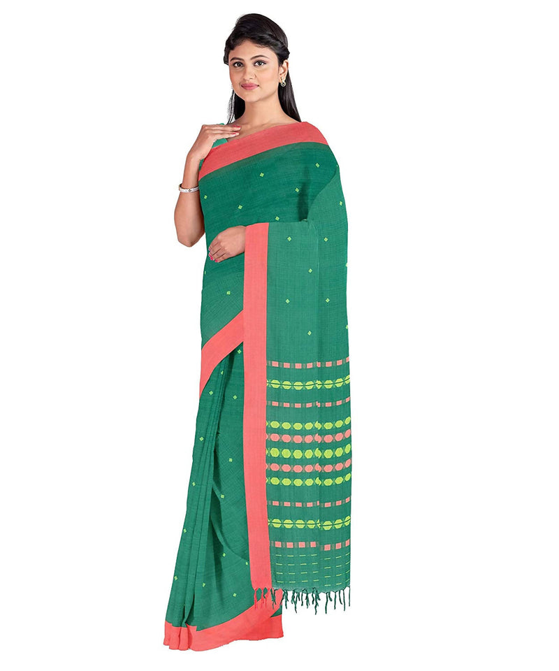 Biswa bangla handwoven green begumpuri saree