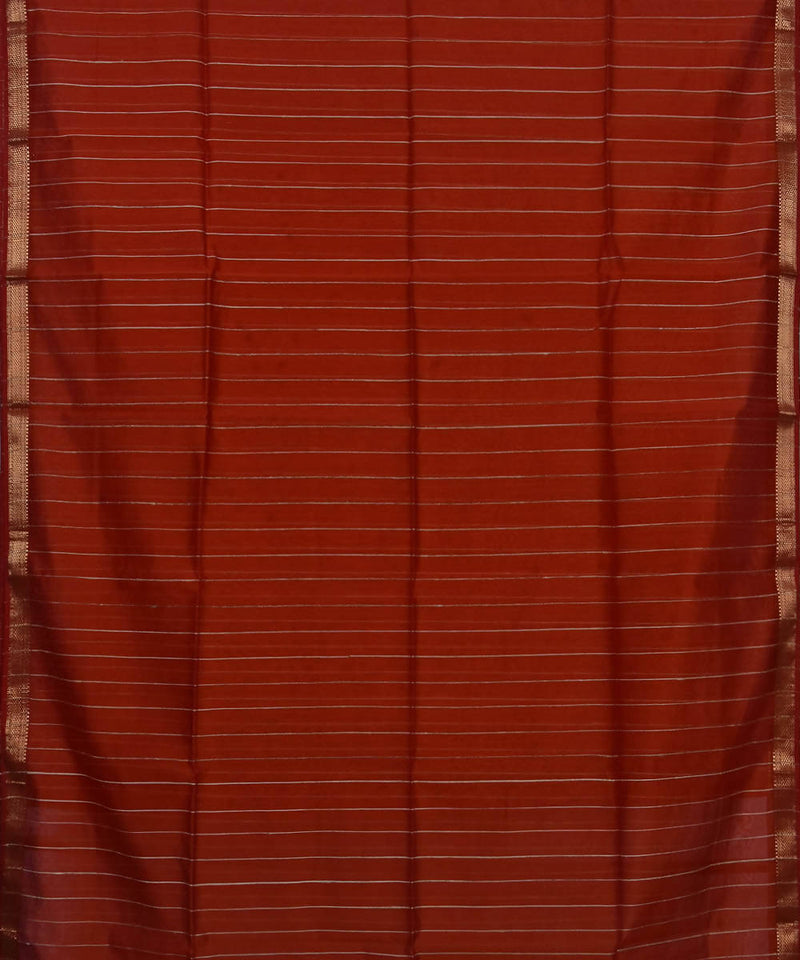 Handloom Maheshwari Brown Cotton Silk Saree