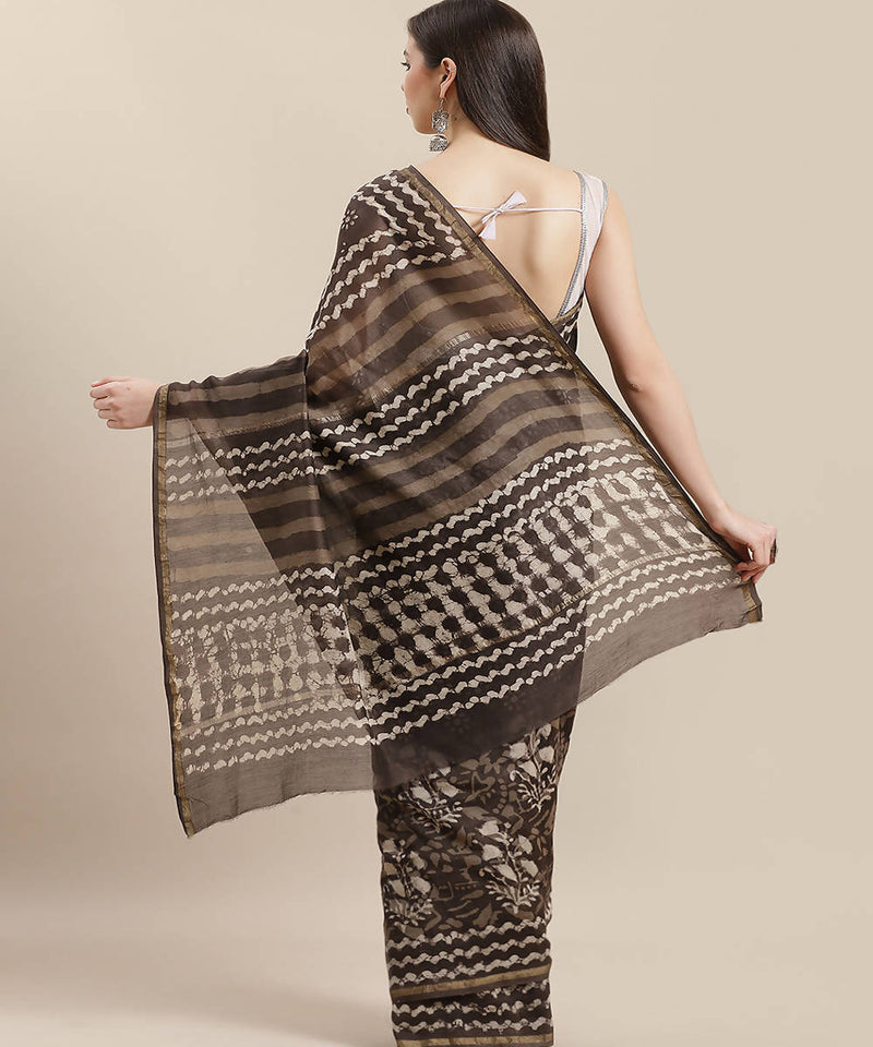 Taupe Grey Handblock Printed Chanderi Saree