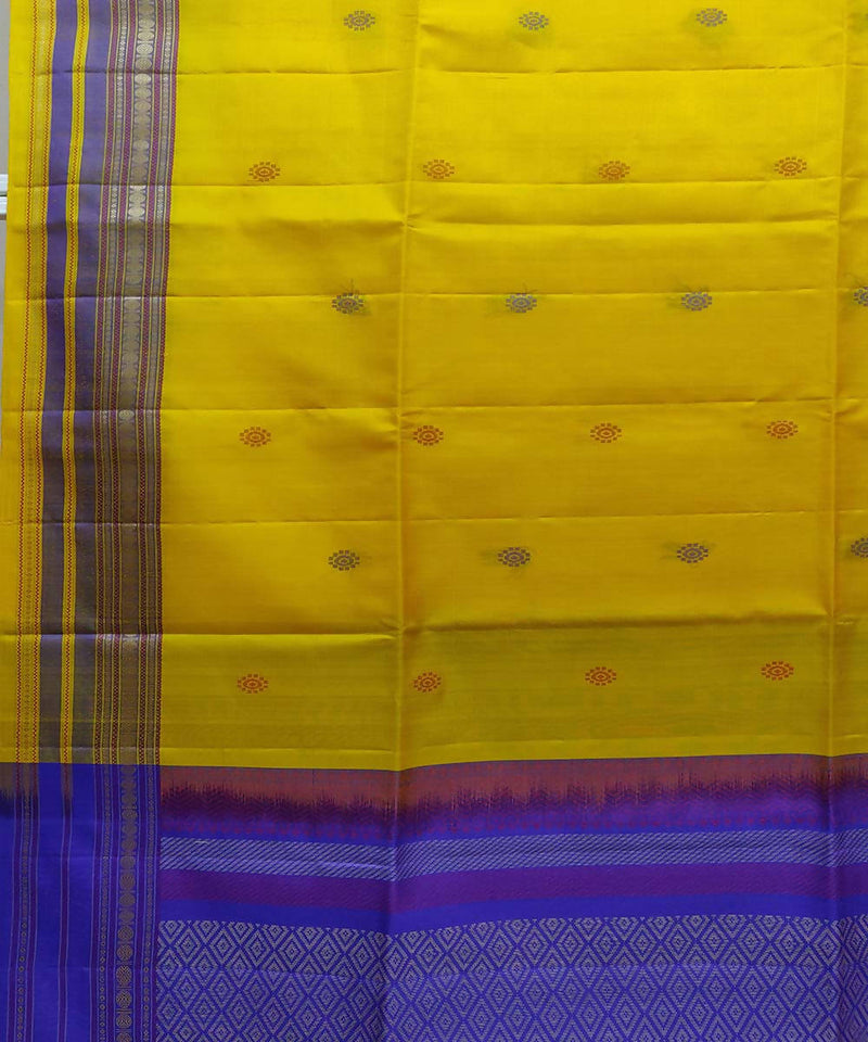 Yellow Blue Soft Silk Handwoven Saree