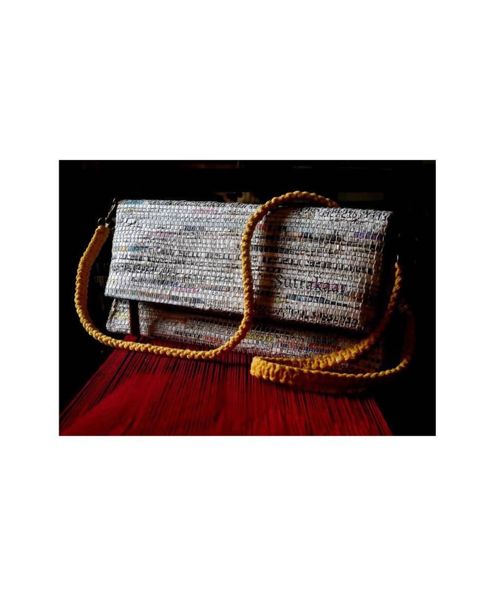 Handmade Newspaper Cotton Foldover Clutch
