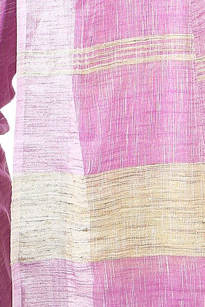 Pink handloom bengal cotton and linen saree