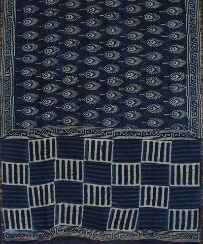 Indigo Block Printed Handloom Chanderi Saree