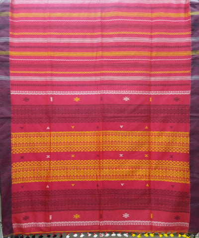 Bengal Rani Pink Stripes Handloom Cotton Saree