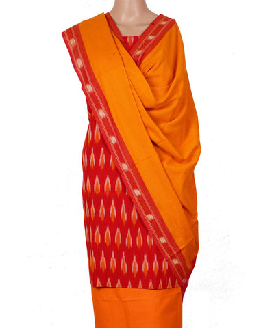 Red Yellow Handloom Ikkat Cotton Suit Set