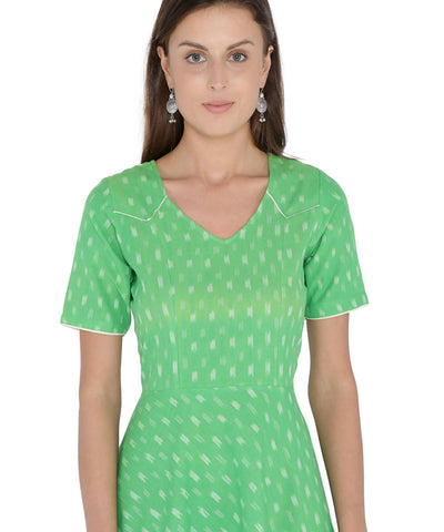 Parrot green ikat cotton short dress