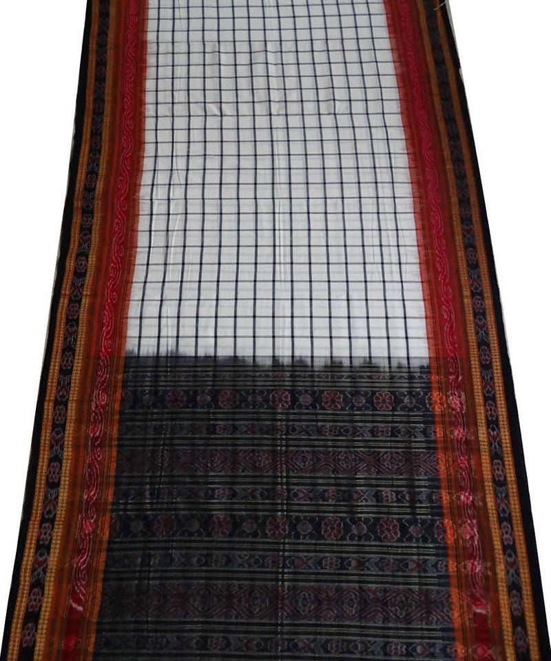 white checks handloom Bomkai Cotton Saree