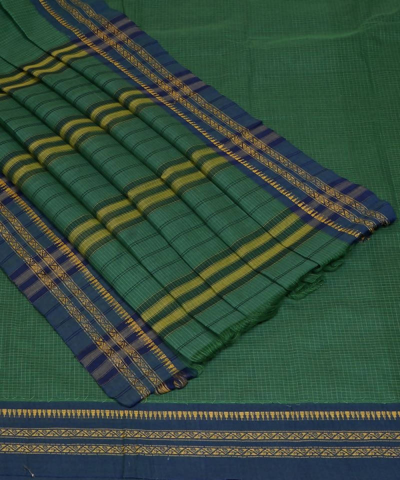 Handloom Green Narayanpet Cotton Saree