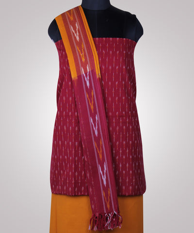 Handloom Ikat Cotton Suit In Red Color