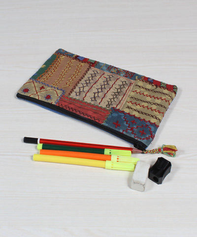 Lambani Embroidery Multicolour Pencil Pouch