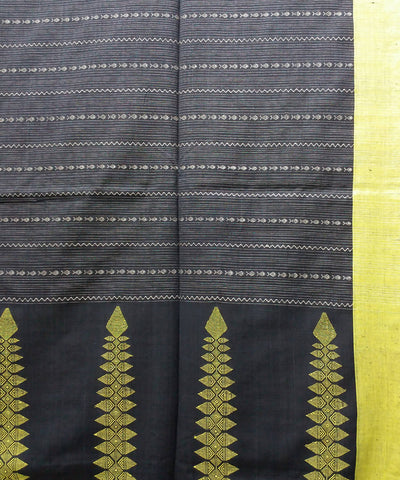 Bengal handspun handwoven cotton black and yellow saree