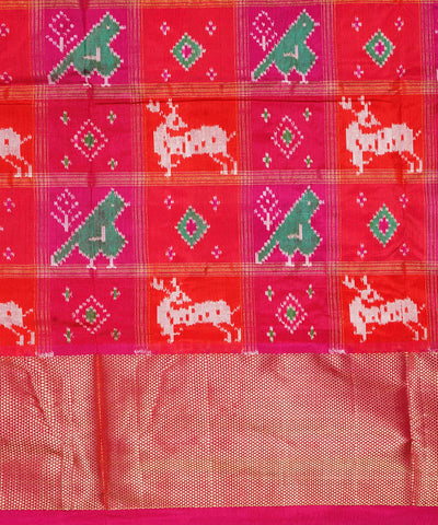 Pink Orange Handloom Pochampally Silk Saree