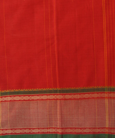 Plain Red Handloom Chettinadu Cotton Saree