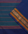 Plain Blue Handloom Chettinadu Cotton Saree