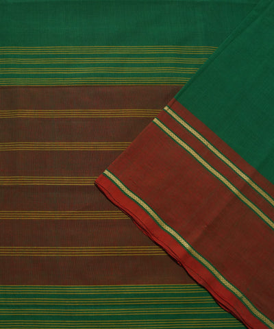 Dark Green Handloom Chettinadu Cotton Saree