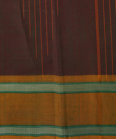 Dark Brown Handloom Chettinadu Cotton Saree
