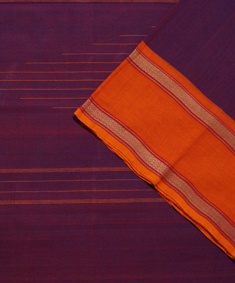 Purple Orange Handloom Chettinadu Saree
