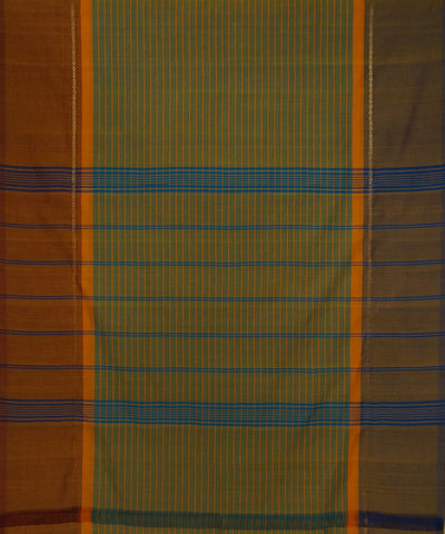Green Orange Stripe Handloom Chettinadu Saree