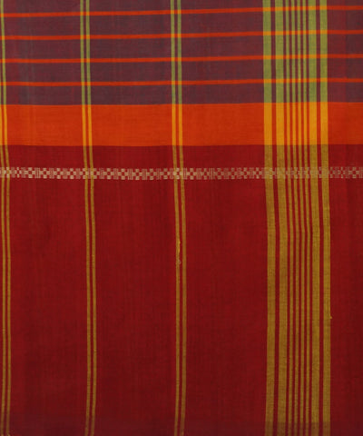 Mauve Stripe Handloom Chettinadu Saree