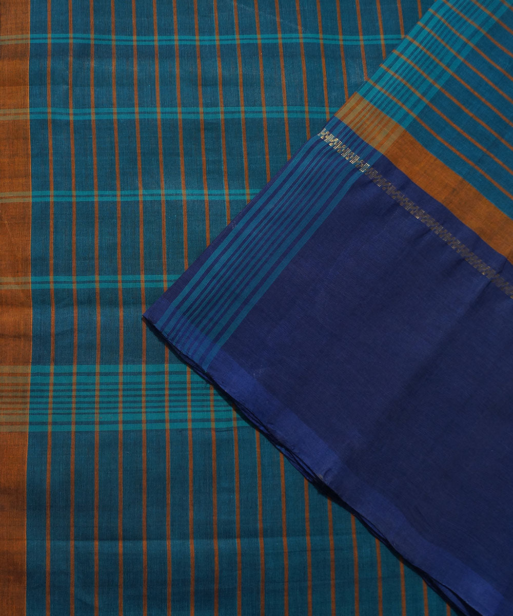 Blue Stripe Handloom Chettinadu Saree