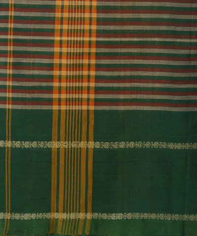 Dark Green Stripe Handloom Chettinadu Saree