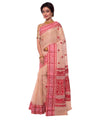 Bengal Handloom Brown Red Cotton Tant Saree