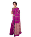 Purple Stripe Cotton Bengal Handloom Saree
