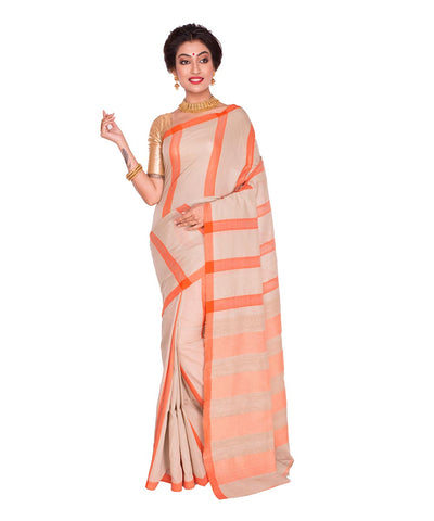 Beige Orange Stripe Handloom Cotton Saree