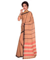 Brown Bengal Stripe Handloom Cotton Saree
