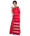 Red Bengal Handloom Stripe Cotton Saree