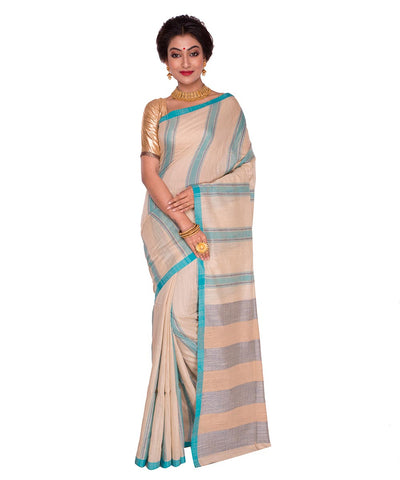 Off White Cyan Stripe Handloom Cotton Saree