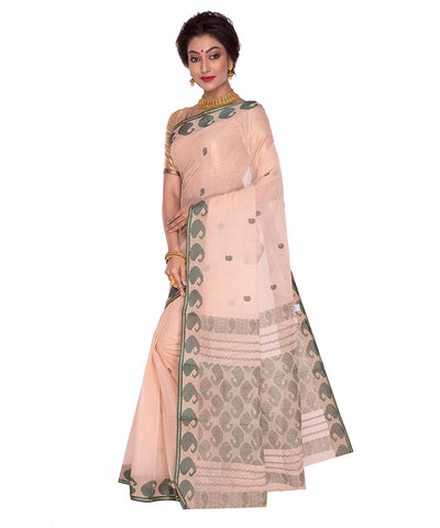 Off White Beige Bengal Handloom Tant Saree