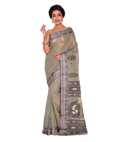 Olive Green Bengal Handloom Tant Cotton Saree