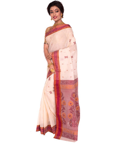 White Red Bengal Handloom Tant Cotton Saree