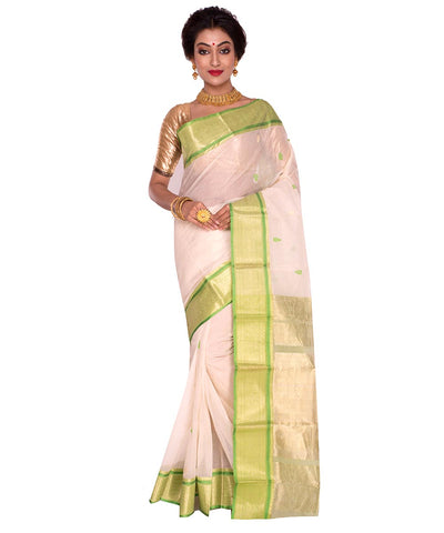 White Bengal Handloom Tant Cotton Saree