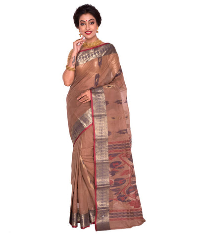 Bengal Handloom Tant Cotton Brown Saree