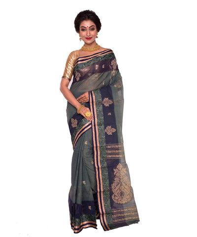 Green Grey Bengal Handloom Tant Cotton Saree