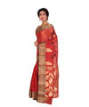 Red Rust Bengal Handloom Tant Cotton Saree