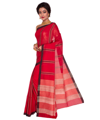 Red Black Stripe Bengal Handloom Cotton Saree