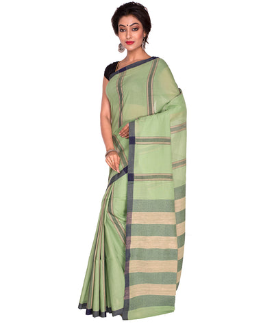 Green Stripe Bengal Handloom Cotton Saree