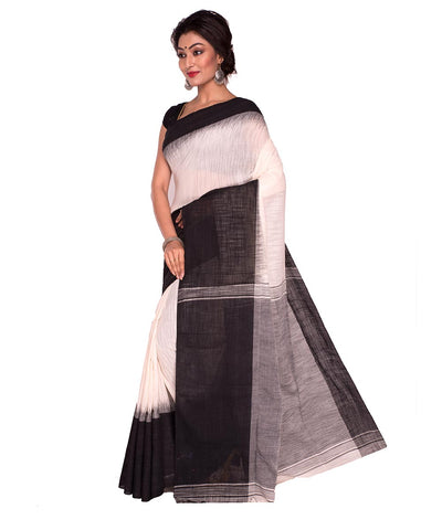 White Black Bengal Handloom Tant Cotton Saree