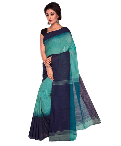 Green Blue Bengal Handloom Cotton Saree