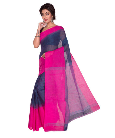 Blue Pink Bengal Handloom Cotton Saree